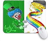 KAPANOUマウスパッド 緑の帽子と虹とハッピー聖パトリックの日の道化師 ゲーミング オフィス おしゃれ 防水 耐久性が良い 滑り止めゴム底 ゲーミングなど適用 マウス 用ノートブックコンピュータマウスマット