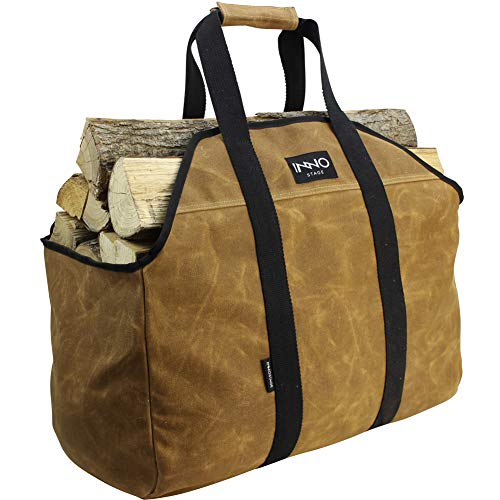 INNO STAGE Firewood Log Carrier Tote Bag for Fireplace Stove Accessories Heavy Duty Hay Hauling for Fire Pit Outdoor Camping