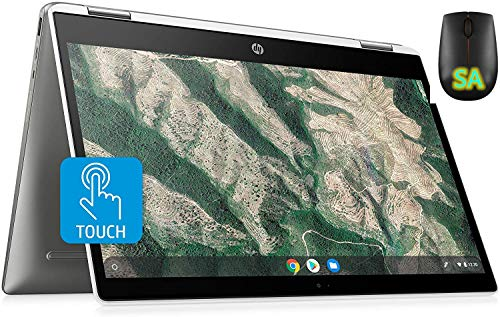HP Chromebook X360 14-Inch HD Touchscreen Laptop, Intel Celeron N4000, 4 GB RAM, 128 GB eMMC, Chrome (14b-ca0010nr, Ceramic White/Mineral Silver) with SA Mouse(Renewed) (128GB SSD)