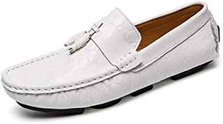 Oap Shoes For Men Fashion Embossed Penny Loafers For Men PU Leather Lightweight Breathable Dress Wedding Casual Shoes Tassel Anti-slip Flat Slip-on Round Toe dt (Color : White, Size : 42 EU)