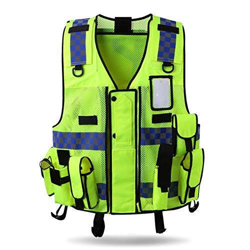 Unisex Multifunktion Sicherheitswesten Reflektierende Warnweste Workwear Hochsichtbare Gelb Weste, Einheitsgröße