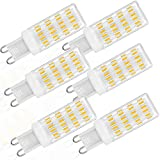 ZJYX Bombillas LED G9 5W, Repuesto Lámparas Halógenas 50W, LED G9 ángulo Haz de 360° Sin Parpadeo, Regulable AC/DC 12-24V, Paquete de 6,Natural White 4500k