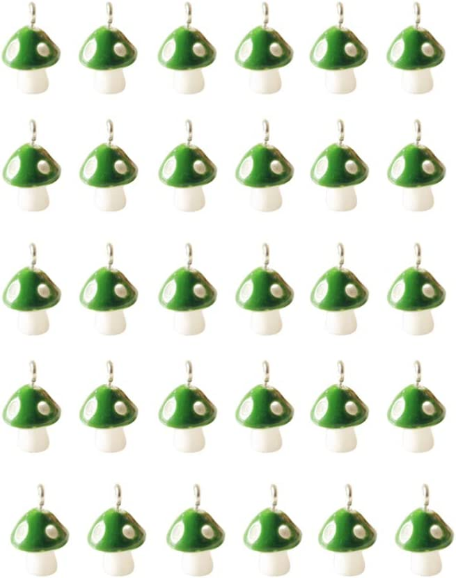 ULTNICE 30pcs Mushroom Charms Pendants Jewelry Findings Charms Spacer Loose Beads for Jewelry Making Yellow