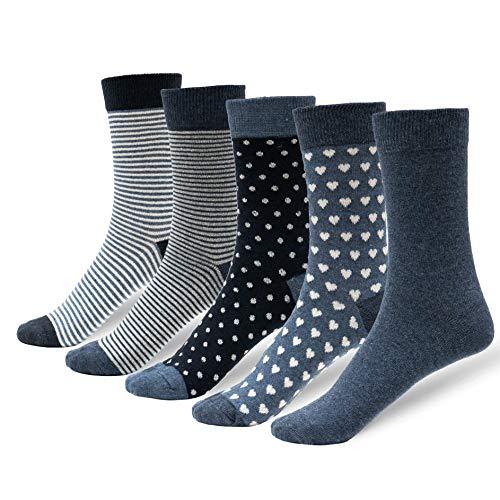 NewwerX 5 Paar Damensocken aus Baumwolle, in vielen Motiv & Farbvarianten (Jessy Jeans, 35-38)