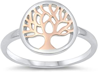 North Arrow Shop Tree of Life Ring Sterling Silver 925 and Rose Gold Plating, with Jewelry Gift Box