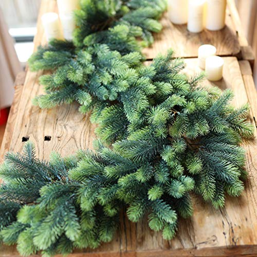 PARTY JOY Seasonal Artificial Christmas Garland Pine Cypress Greenery Garland Holiday Outdoor Winter Decor-5.9ft