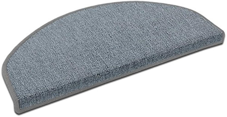 Casa pura Stufenmatten London  viele Varianten  Treppenteppich mit pflegeleichtem Schlingenflor  kombinierbar mit passenden Lufern  Hellgrau - Halbrund - 15 Stück Set