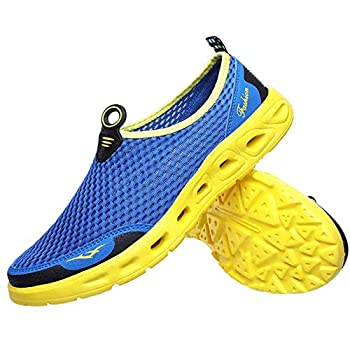 Men s Women s Quick Dry Mesh Water Shoes Comfort Breathable Barefoot Slip on Sneakers for Walking Running Hiking Beach Swim Surf Boating  Blue Yellow 41