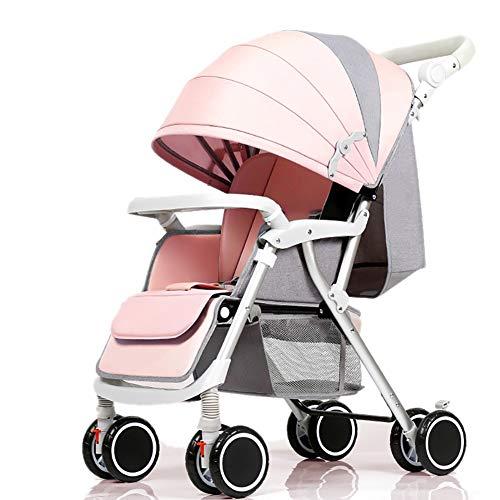 Poussettes JCOCO Bébé, Poids léger Pliable 4 * 2 Roues Suspendu Chariot de bébé Nouveau-né Chariot Poussoir réglable en Hauteur (Couleur : Pink)