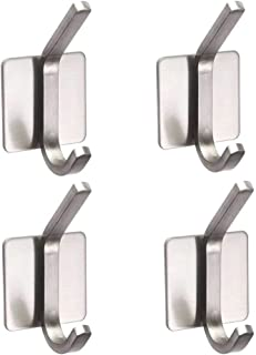 Adhesive Hooks Heavy Duty Wall Hooks Towel Hanger Stainless Steel Waterproof Utility Hooks Hanger for Coat Key Hat Bag - Bathroom Kitchen Home(4 Packs)