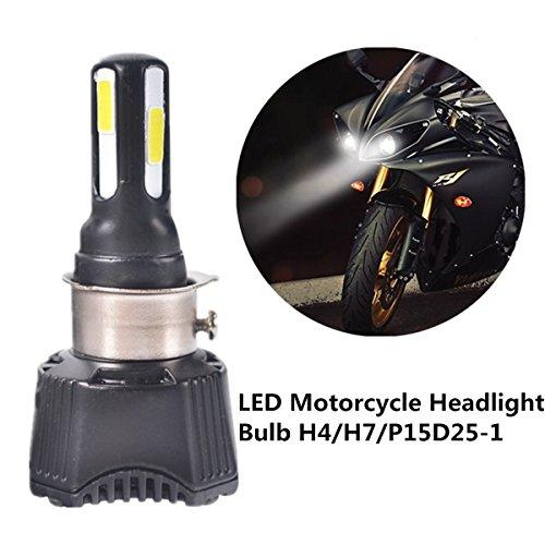 Fezz LED-koplamp voor motorfietsen, 40 W, H4, H6, S2, BA20D, P15D25-1, voorlicht met ventilator, koeling, 4 LED's, Hi Lo Spot 4600lm, 6000 K, wit