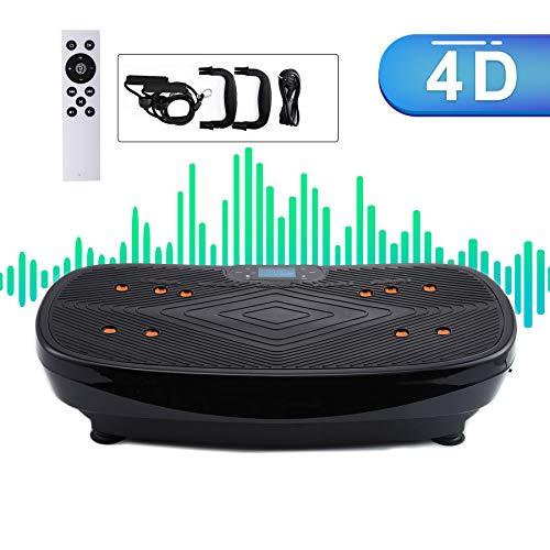 Sfeomi 4D Vibrationsplatte 440W Vibrationsgerät LED Körper Vibrationstrainer Curved Design Fitness Vibrationsgerät Touch Display Sport Übungen Körperformer Bluetooth Lautsprecher (Schwarz)