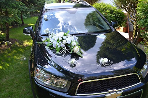 Autodeko Autoschmuck Hochzeit Deko Hochzeitsdeko Rattan 9 Rosen + Blumenstrauß NEU! (weiß)