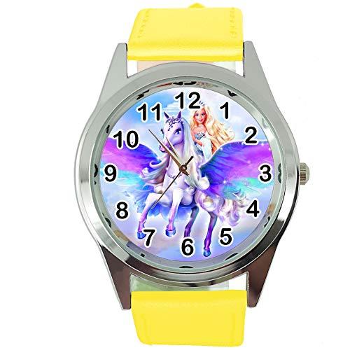 TAPORT Magic Unicorn Pegasus Reloj redondo de cuarzo con correa de piel amarilla