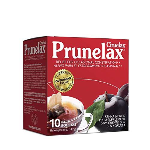 Prunelax Ciruelax Natural Laxative Regular for Occasional Constipation,Tea Bags, Prunes, 10 Bags