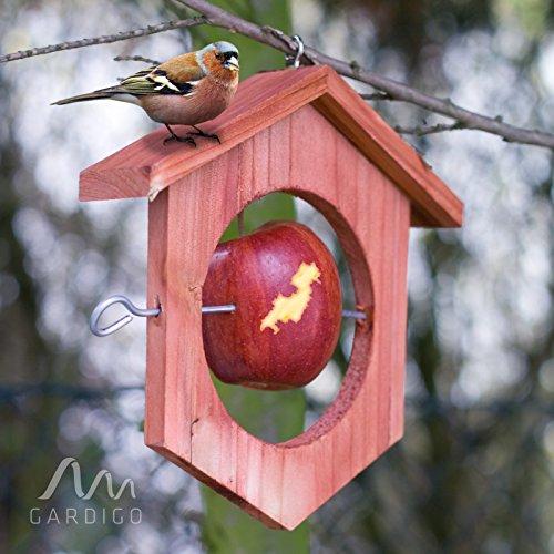 Gardigo Apfel Futterstation Meisenknödelhalter Futterhalter aus Holz - 6
