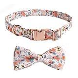 FEimaX Collar de Perro Patrón Floral Hermoso Collares para Mascotas con Bowknot Desmontable y Hebilla Metálica de Liberación Ajustable Suave y Cómodo Pequeños Medianos Grandes