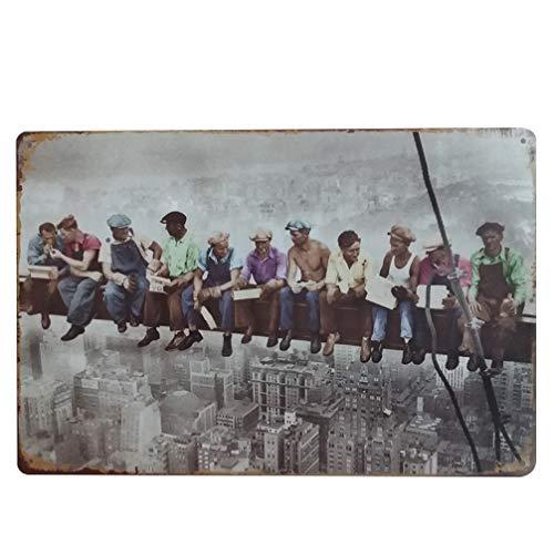 Vosarea Cartel de Chapa Vintage Hombres Trabajadores Cartel de Pared Retro Cartel de Metal Hierro...