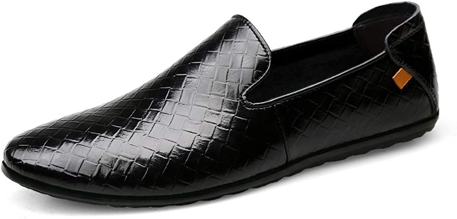 Ruanyi Men's Penny Loafer Boat Moccasins Casual Trendy Business Men's Loafers Comfortable shoes Fashion Woven Texture Pull On Flat Round Toe (color   Black, Size   8 UK)