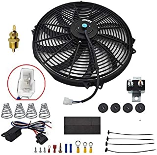 Electric Cooling Fan Wiring Install Kit 185//170 Degree Thermostat 50A Relay USA