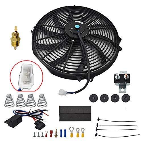 labwork 16' Electric Radiator Fan HIGH 3000+CFM Thermostat Wiring Switch Relay KIT Black
