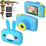Myhappy Camara de Fotos para Niños con Juegos Zoom Digital de 3X 12MP 1080P HD 2 Pulgada LCD Infantil Regalos Navidad Juguetes Muchachos 3-12 Años Azul