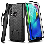 E-Began Case for Motorola Moto G Power (2020 Release) with Tempered Glass Screen Protector (Full Coverage), Belt Clip Holster Shell, Ultra Slim Thin Cover w/Built-in Kickstand Shockproof Case -Black