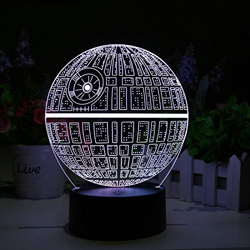 Star Wars Death Star 3D LED Lamp 2 Light Modes 7 Colors Powerd USB or AA Battery