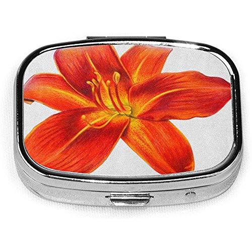 Quadratische Pillendose mit 2 Fächern Tragbare rote realistische Taglilie Blume Orange Zeichnung Hemerocallis Schöne Bigflower