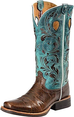 Twisted X Boots 1761 Ruff Stock Chocolate Turquois Westernreitstiefel für Damen Baun Türkis, Groesse:38 (7 US)