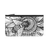 mengmeng Hermoso fondo con abeja gráfica en flor monedero viaje maquillaje lápiz lápiz caso con asa bolsa de lona con cremallera