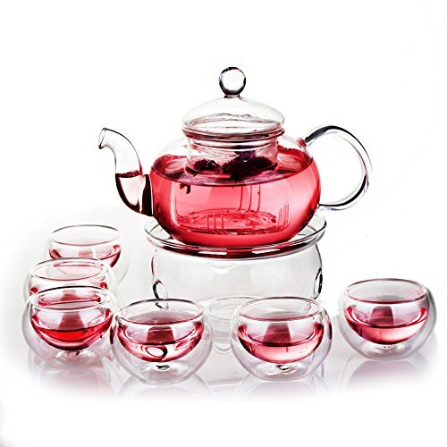 Green Yiko Heat Resistant Elegant Glass Tea Pot Set Infuser Teapot+Warmer+6 Double Wall Tea Cups Clear 600ml