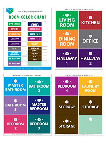 """Large Home Moving Labels - LARGE KIT - 360 Color Coded Labels, 4 Bedroom House, 1 Blank Set, Attention and Priority Labels, Size 4"""" x 3.33"""", By Well Planned Move Photo #6"""