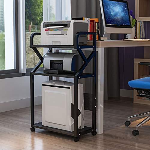 Printe Cart Machine Stand 3 pisos Oficina cremallera móvil Impresora CPU Mesa lateral Archivo Escombros libro de almacenamiento en rack rack de piso de la impresora con polea móvil Súper portante Sopo