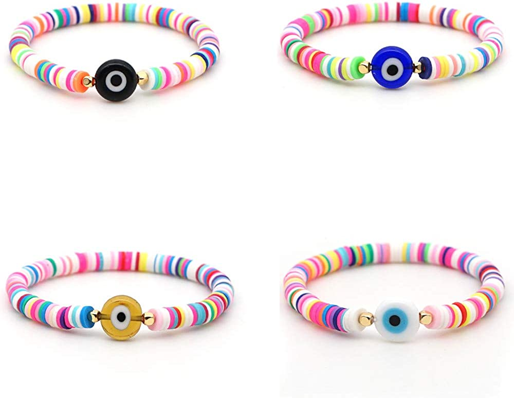 Free shipping on posting reviews Mountainer 4Pcs Handmade Rainbow Beaded Beauty products Col Stretch Bracelet Set