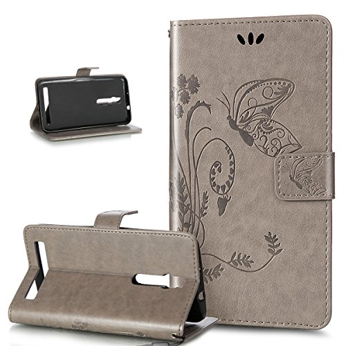 Kompatibel mit ASUS ZenFone 2 5.5 Hülle,Prägung Groß Schmetterling Blumen PU Lederhülle Flip Hülle Cover Ständer Karten Slot Wallet Tasche Case Schutzhülle für ASUS ZenFone 2 ZE550ML/ZE551ML 5.5