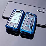 HIBEYO Funda para llave de coche compatible con Volkswagen Volkswagen Cover TPU Funda para VW Golf MK7 Ti-guan Pass-at, Seat, Ibiza, Leon, Skoda, Octavia, accesorios para el coche (azul TP)