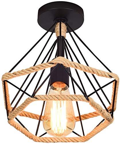 STOEX Lámpara de Techo Vintage Industrial Diamante Luz de Techo Colgante Retro Cuerda de Cáñamo E27 Plafón para Dormitorio Pasillo Loft Cocina Comedor Baño Corredor Bar, Negro