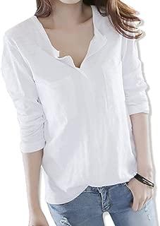 [ウルークレア] レディース スキッパーシャツ 長袖 Tシャツ vネック トップス カットソー 夏服