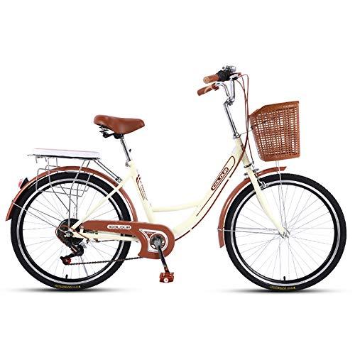 QX 7 velocità, 24' Bici da Città per Donna/Bicicletta Liberty da Bambina con Cesto/Comfort Bike Telaio in Acciaio,Variable Speed