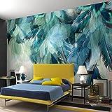 HONGYUANZHANG Personnalisé N'Importe Quelle Taille 3D Nordique Minimalisme Bleu Plume Murale Moderne Art Abstrait Papier Peint Mur Fresco Salon Chambre Mur Papier Peint,260cm (H) X 340cm (W)
