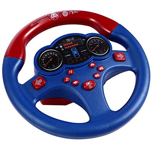 Tomaibaby Volante de Juguete Controlador de Conducción Simulado Copiloto Juguete Educativo Divertido Volante Interactivo para Niños Pequeños Azul