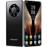 FJYDM Teléfono Inteligente, Teléfonos Celulares Desbloqueados 6.5 Pulgadas Teléfono Dual Sim 128GB Teléfonos con Desbloqueo De Huellas Digitales Y Identificación Facial,Negro
