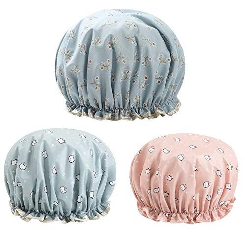 Lot de 3 bonnets de douche imperméables à double couche