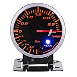 Qiilu Turbo Boost Meter, 2.5inch 60mm 3.0 Bar LED Modificación del coche Turbo Boost Gauge Meter Pointer DC12V