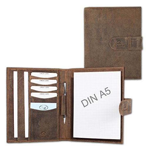 ALMADIH Leather A5 Writing Case Premium Cow Leather brown vintage – Writing Pad Personal Organiser Conference Folder System Planner Portfolio Folio Workbook Datebook Schedule Diary Organizer Sleeve Document CV
