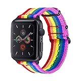 bandmax, Cinturino di Ricambio per Apple Watch LGBT, in Nylon Resistente, con Fibbia in Metallo Nero, Compatibile con iWatch Serie 5/4/3/2/1 38/40 mm