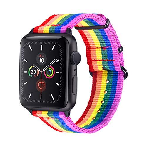 bandmax Armband kompatibel für Apple Watch 42mm/44mm, LGBT Regenbogen Nylon Gewebe Ersatzarmband Gay Pride Uhrenarmband mit schwarzer Gürtelschnalle für Apple Watch Sport Series 6/5/4/3/2/1/SE