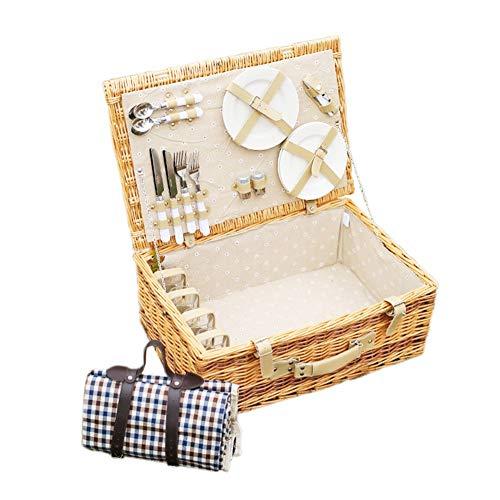 AYXN Picknickkorb Rattan, Tragbare Outdoor-Isolierung Camping Lebensmittel Ablagekorb, 4 Personen Wicker Picknick-Box Mit Deckel