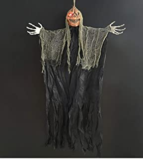 FakeFace 3.7ft Scary Halloween Hanging Ghost with Spooky Glowing LED Red Eyes, Horror Pumpkin Head Skull Flying Ghost Part...